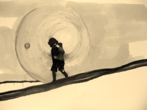 A drawn boy walking in a bubble