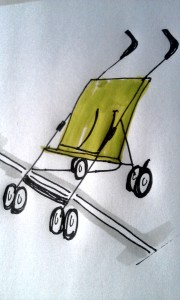 Drawing of a childs buggy