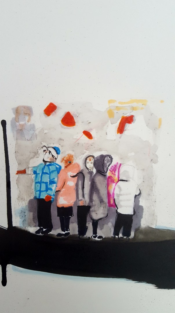 Artwork of children standing in line